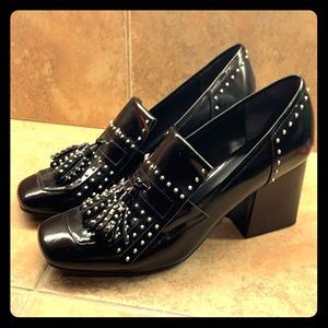 Marc Fisher Black studded patent leather loafers